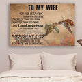 (cv926) QH turtle Poster - to wife - you are my sunshine vs2