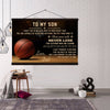 (cv519) Basketball canvas with the wood frame - Dad son never lose