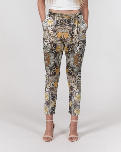 Black Gold African Print Women's Belted Tapered Pants YaYa+Rule