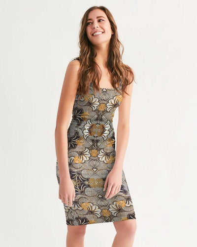 Black Gold African Print Women's Midi Bodycon Dress YaYa+Rule