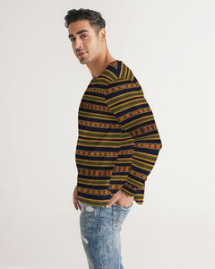 Black Kente African Print Men's Long Sleeve Tee YaYa+Rule