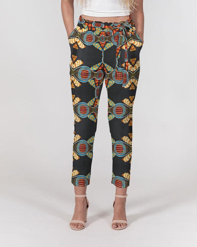 Black Multi Color African print Women's Belted Tapered Pants YaYa+Rule