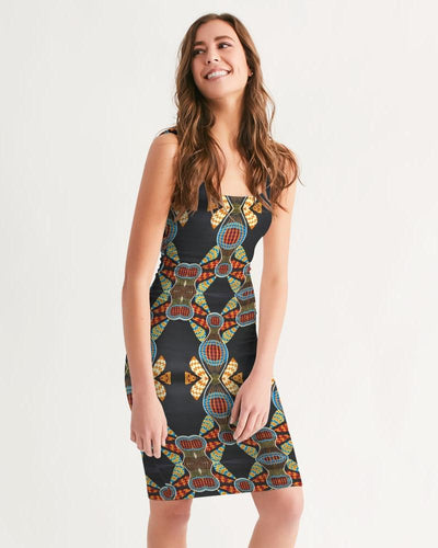 Black Multi Color African print Women's Midi Bodycon Dress YaYa+Rule