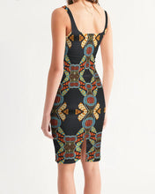 Load image into Gallery viewer, Black Multi Color African print Women's Midi Bodycon Dress YaYa+Rule