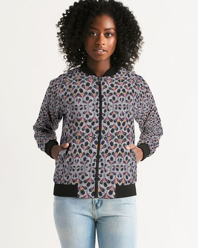Black Purple Feather African Print Women's Bomber Jacket YaYa+Rule