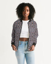 Load image into Gallery viewer, Black Purple Feather African Print Women's Bomber Jacket YaYa+Rule