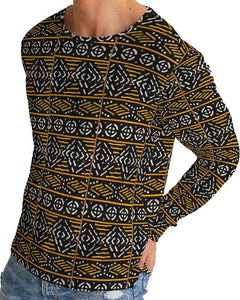 Black Yellow Bogolan African Print Men's Long Sleeve Tee YaYa+Rule