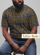 Load image into Gallery viewer, Black Yellow Bogolan African Print Men's T-shirt YaYa+Rule