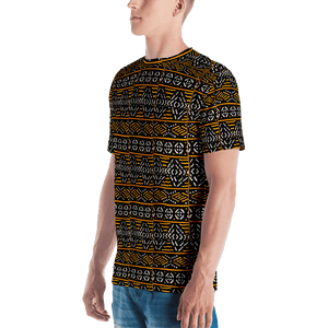 Black Yellow Bogolan African Print Men's T-shirt YaYa+Rule