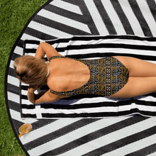 Load image into Gallery viewer, Black Yellow Bogolan African Print One-Piece Swimsuit YaYa+Rule
