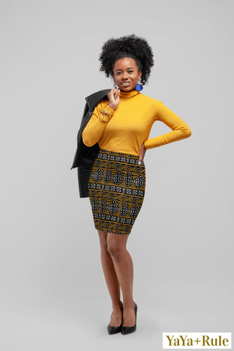 Black Yellow Bogolan African print Pencil Skirt YaYa+Rule