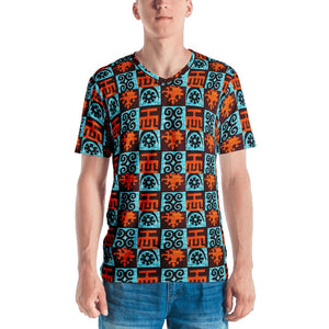Blue Orange Adinkra African Print Men's T-shirt YaYa+Rule