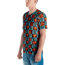 Load image into Gallery viewer, Blue Orange Adinkra African Print Men's T-shirt YaYa+Rule