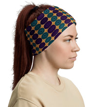 Load image into Gallery viewer, Blue Purple African Print Neck Gaiter YaYa+Rule