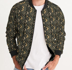 Brown Bogolan African Print Men's Bomber Jacket YaYa+Rule