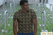 Load image into Gallery viewer, Brown Bogolan African Print Men's T-shirt YaYa+Rule