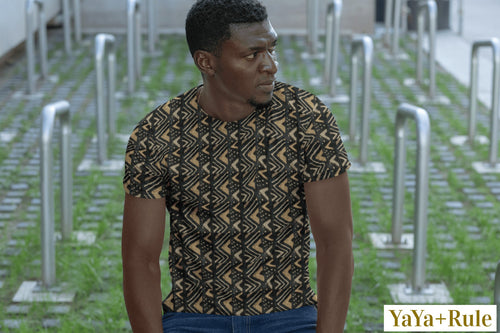 Brown Bogolan African Print Men's T-shirt YaYa+Rule