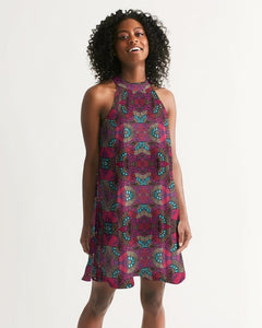 Fuschia African African Print Women's Halter Dress YaYa+Rule
