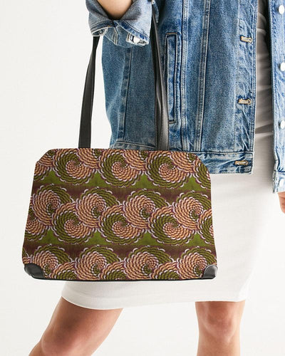 Green Brown Flower African print Shoulder Bag YaYa+Rule