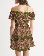 Load image into Gallery viewer, Green Brown Flower African print Women's Off-Shoulder Dress YaYa+Rule