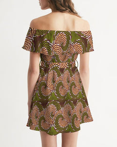 Green Brown Flower African print Women's Off-Shoulder Dress YaYa+Rule