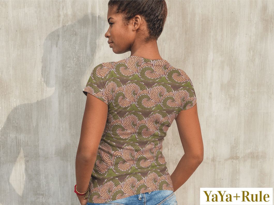 Green Flower African Print Women's T-shirt YaYa+Rule