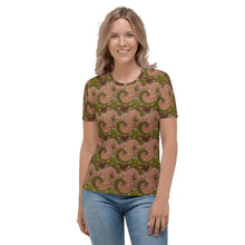 Load image into Gallery viewer, Green Flower African Print Women's T-shirt YaYa+Rule