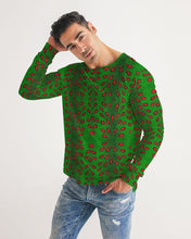 Load image into Gallery viewer, Green Red African Print Men's Long Sleeve Tee YaYa+Rule