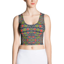Load image into Gallery viewer, Green Red Bogolan African Print Crop Top YaYa+Rule