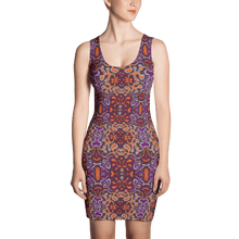Load image into Gallery viewer, Orange Purple African Print Dress YaYa+Rule