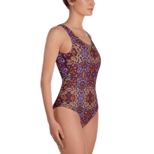 Load image into Gallery viewer, Orange Purple African Print One-Piece Swimsuit YaYa+Rule
