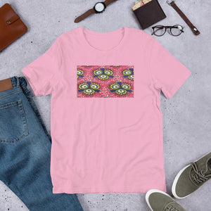 Pink Flower African Print Color Short-Sleeve Unisex T-Shirt YaYa+Rule