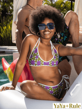 Load image into Gallery viewer, Purple Yellow African Print Bikini Top YaYa+Rule