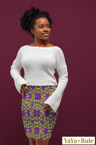 Purple Yellow African Print Pencil Skirt YaYa+Rule