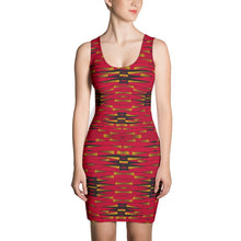 Load image into Gallery viewer, Red Black African Print Dress YaYa+Rule