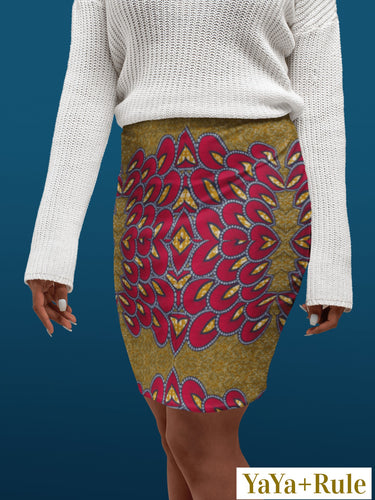 Red Gold African Print Pencil Skirt YaYa+Rule