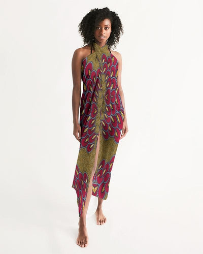 Red Gold African print Swim Cover Up YaYa+Rule