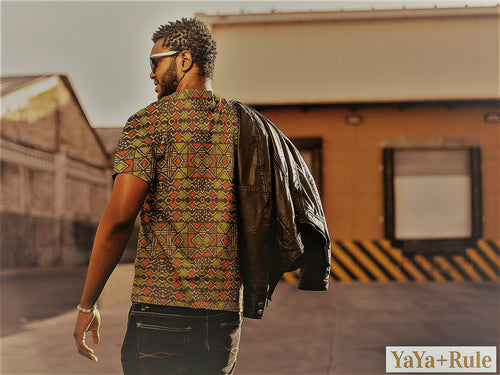 Red Green Bogolan African Print Men's T-shirt YaYa+Rule