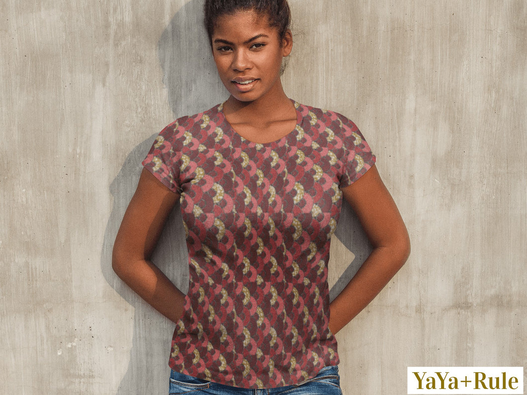 Red Mustard Scalloped African print Women's T-shirt YaYa+Rule