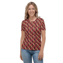 Load image into Gallery viewer, Red Mustard Scalloped African print Women's T-shirt YaYa+Rule