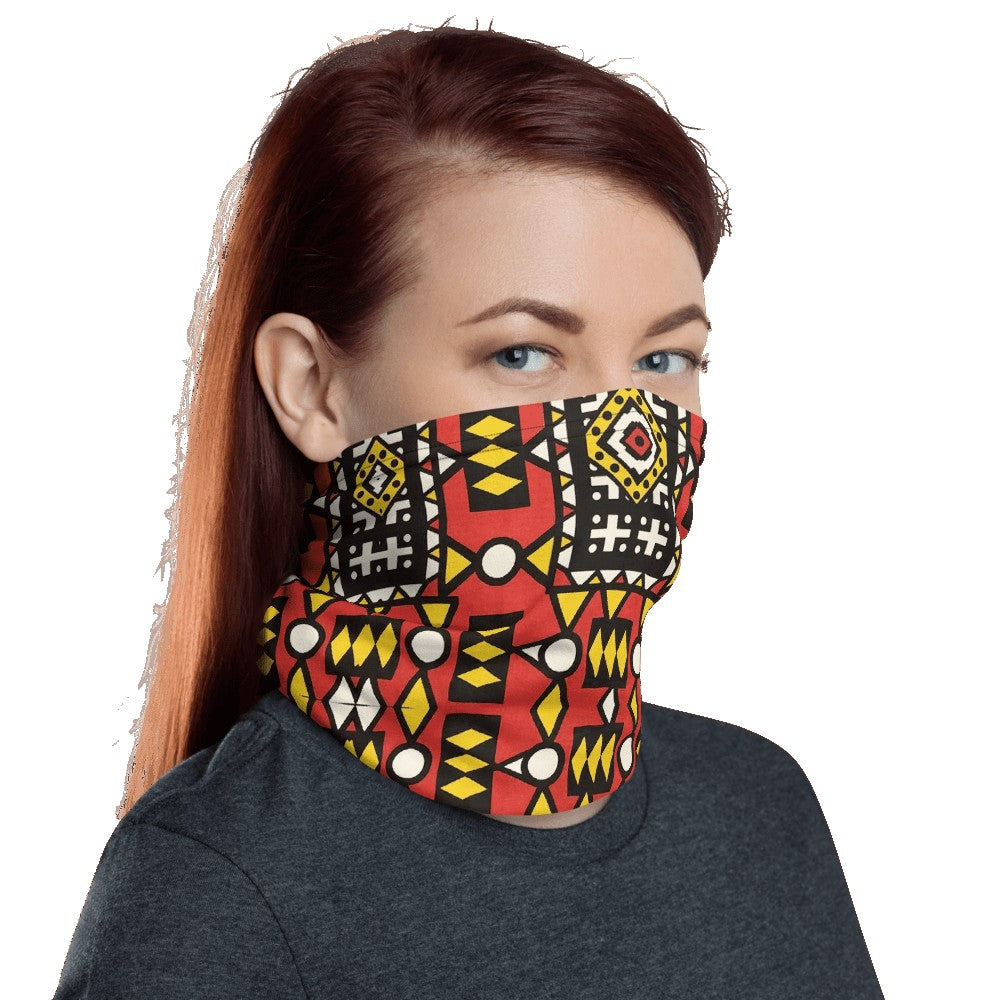 Red Yellow African Print Neck Gaiter YaYa+Rule