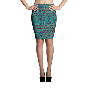 Teal Black African Print Pencil Skirt YaYa+Rule