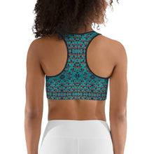 Load image into Gallery viewer, Teal Black Feather African Print Sports bra YaYa+Rule