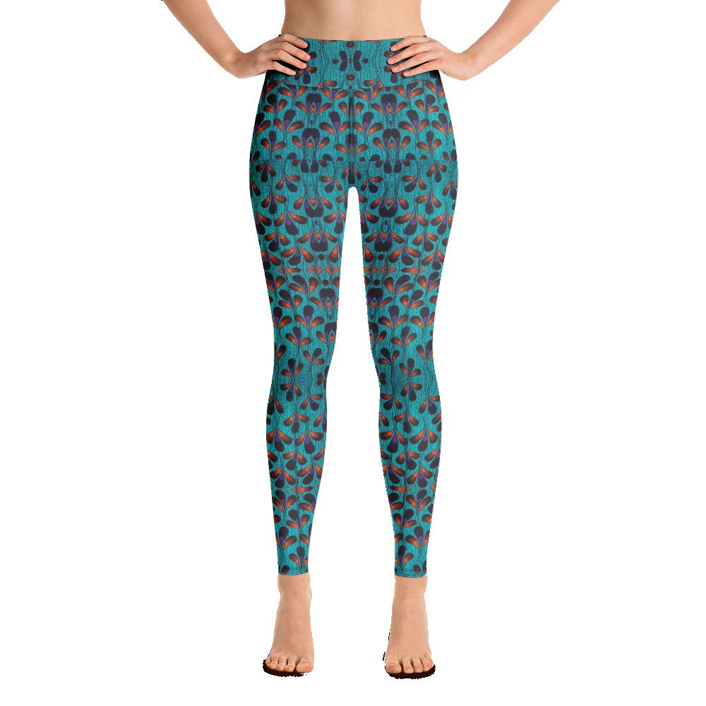 Teal Black Feather African Print Yoga Leggings YaYa+Rule