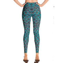 Load image into Gallery viewer, Teal Black Feather African Print Yoga Leggings YaYa+Rule