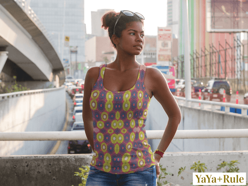 Yellow Blue African Print Tank Top YaYa+Rule