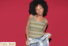 Load image into Gallery viewer, Yellow Gray African Print Tank Top YaYa+Rule