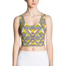 Load image into Gallery viewer, Yellow Purple African Print Crop Top YaYa+Rule