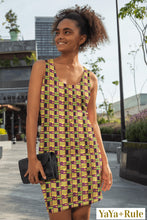 Load image into Gallery viewer, Yellow Purple Kente African Print Dress YaYa+Rule