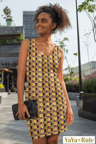 Yellow Purple Kente African Print Dress YaYa+Rule